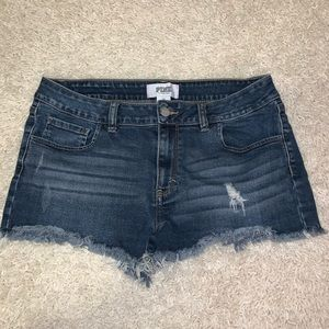 PINK Victoria's Secret dark denim frayed shorts